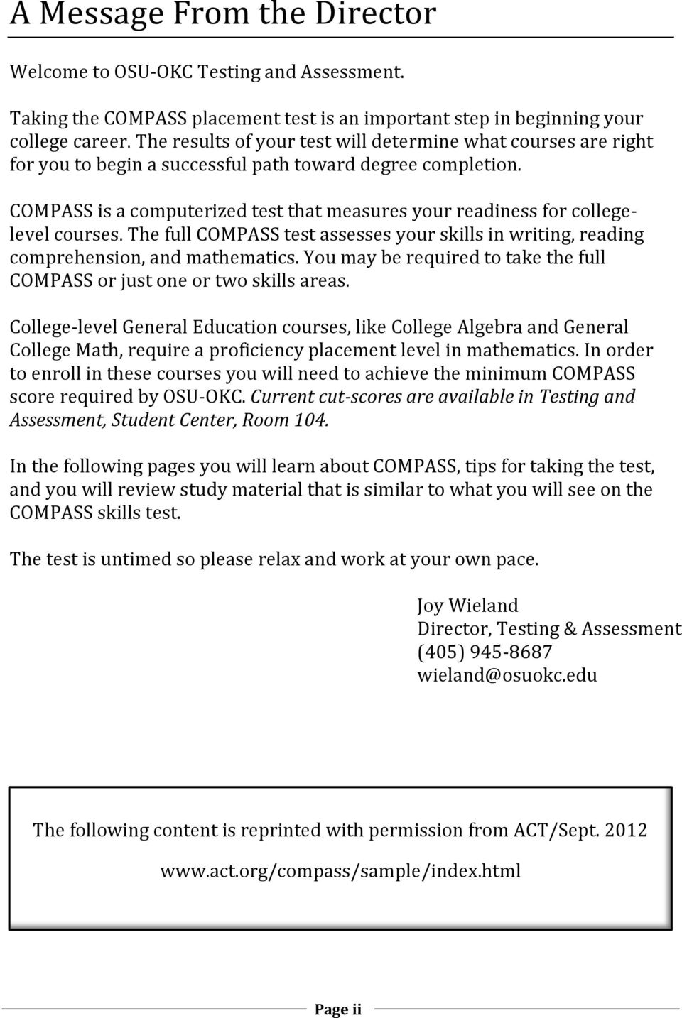 Study Guide. COMPASS for math. Testing & Assessment - PDF