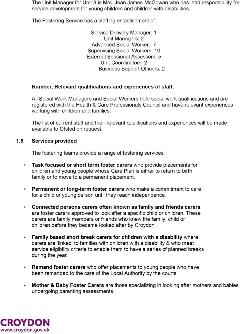 croydon council fostering service statement of purpose 2015 pdf coordinators 2 business support officers 2 number relevant qualifications and experiences of staff