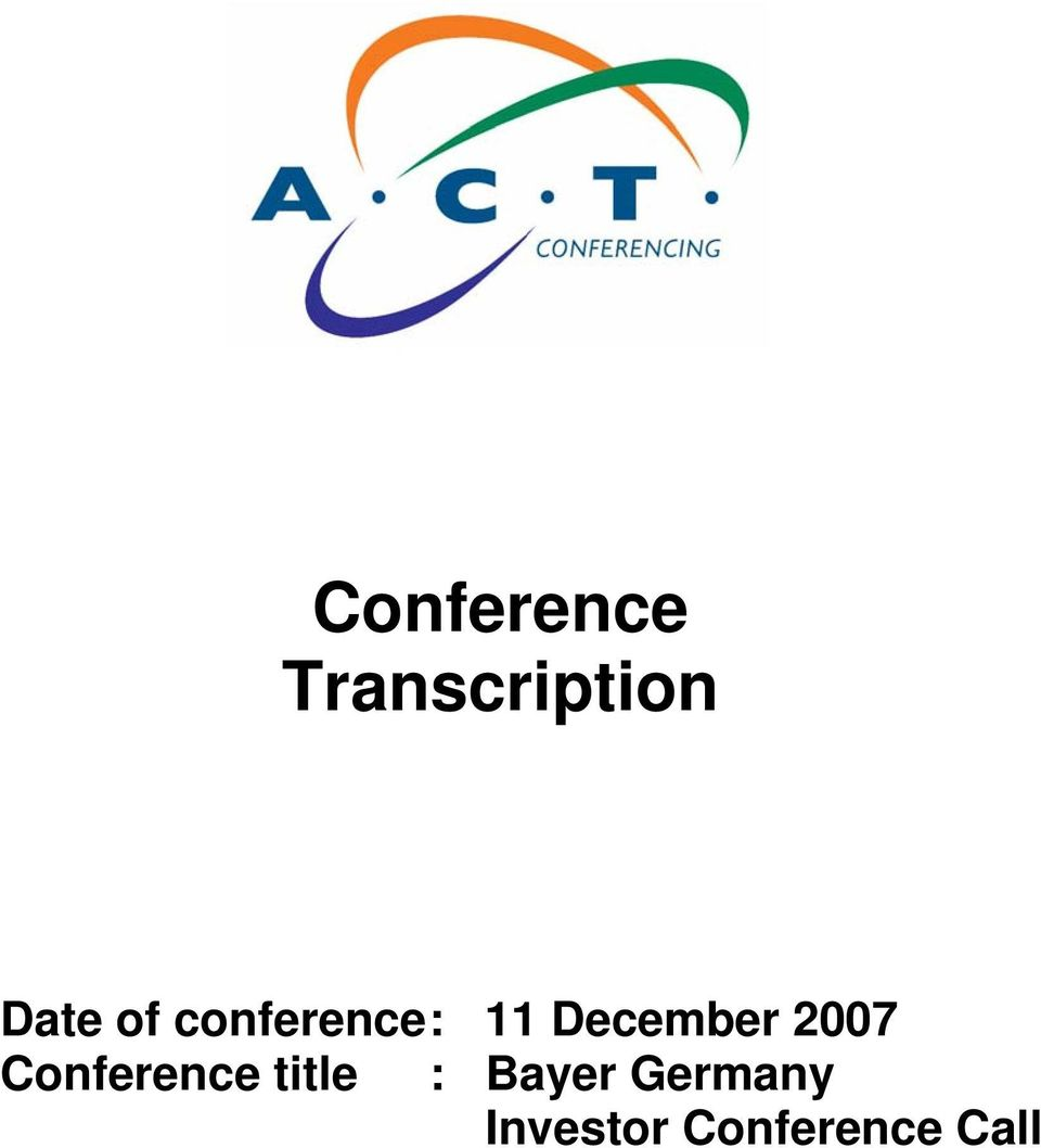 2007 Conference title : Bayer