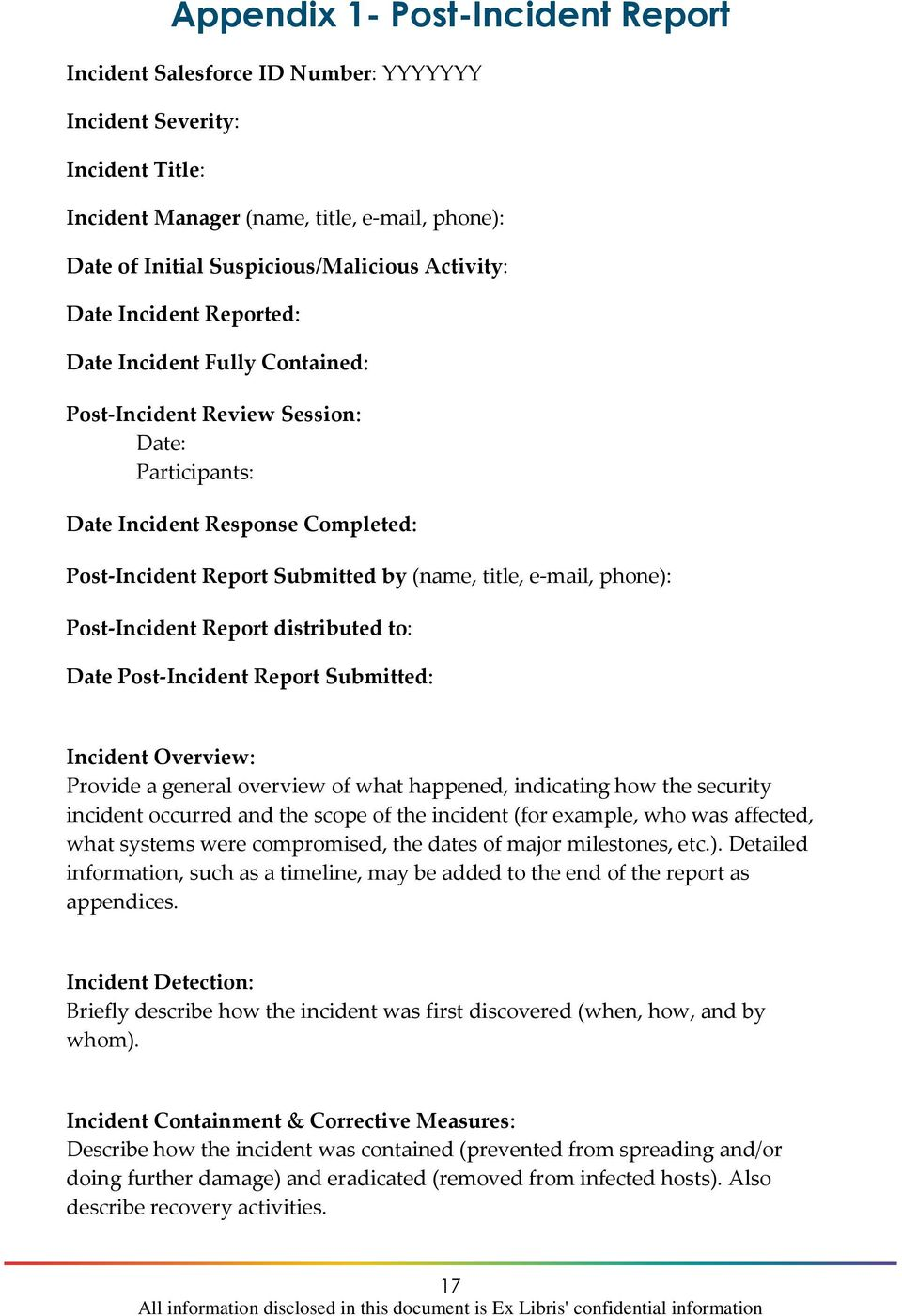 e-mail, phone): Post-Incident Report distributed to: Date Post-Incident Report Submitted: Incident Overview: Provide a general overview of what happened, indicating how the security incident occurred