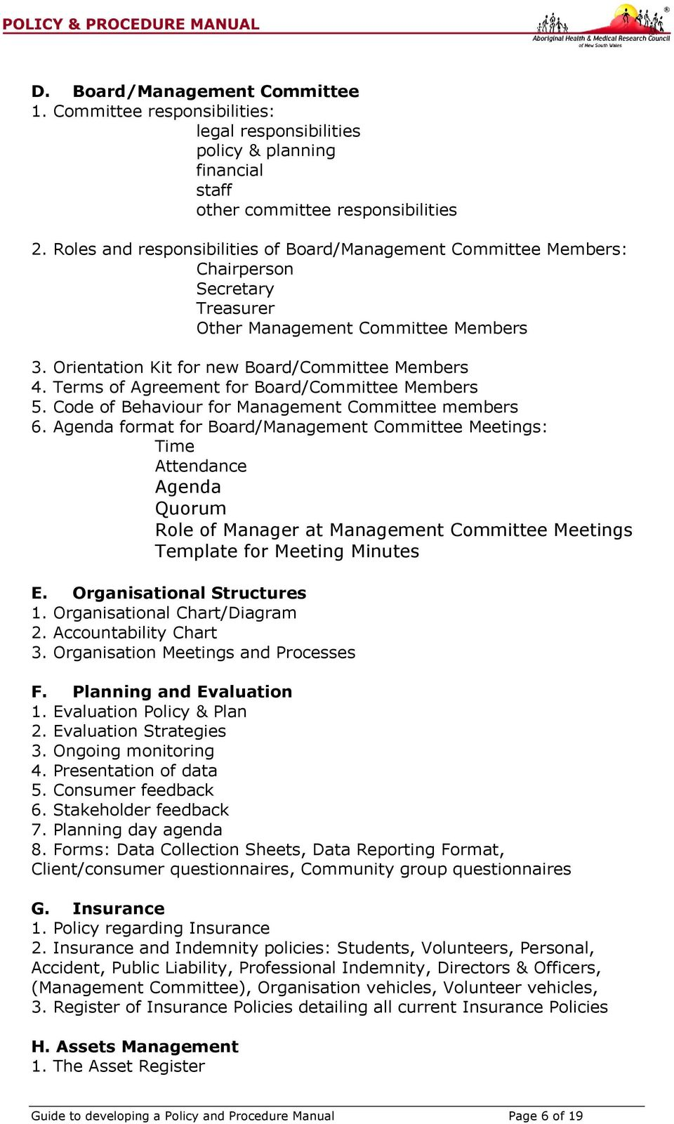Guide to developing an organisational policy procedures for Board policy manual template
