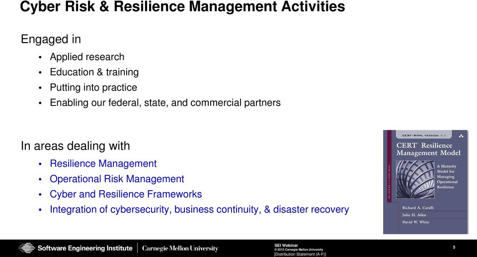 areas dealing with Resilience Management Operational Risk Management Cyber and