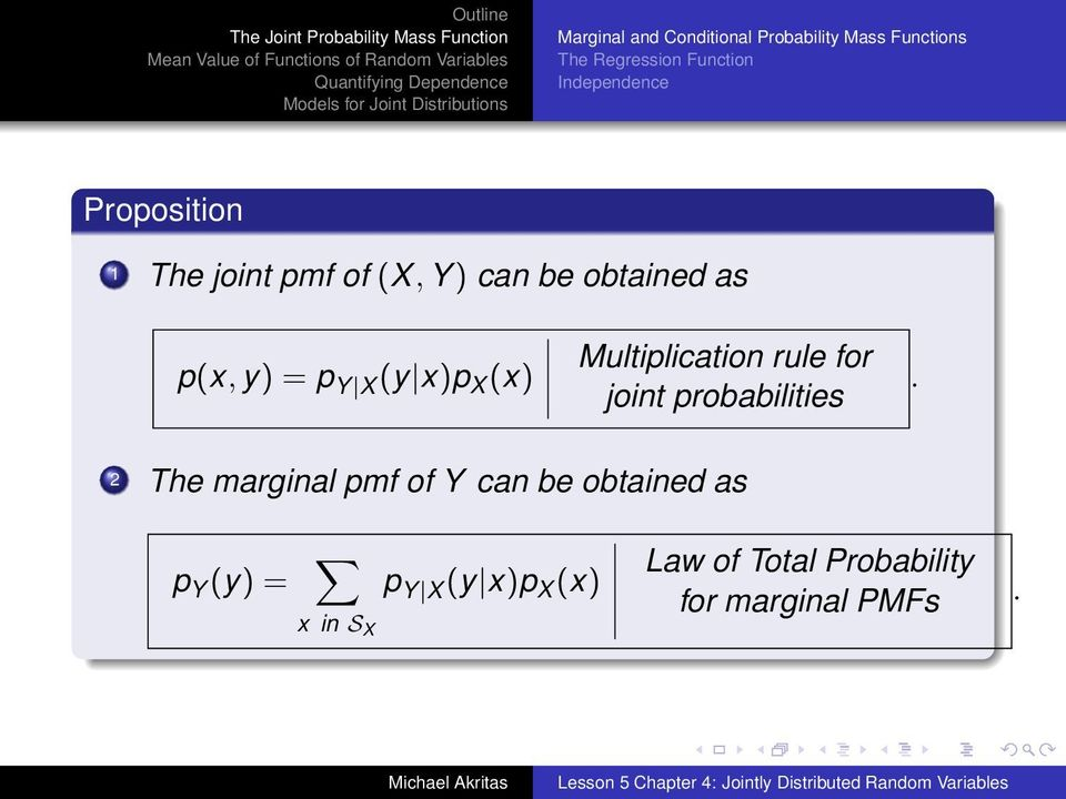 (y x)p X (x) Multiplication rule for joint probabilities.
