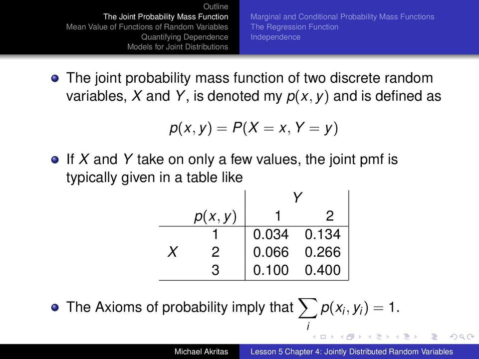 p(x, y) = P(X = x, Y = y) If X and Y take on only a few values, the joint pmf is typically given in a table
