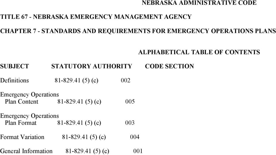 41 (5) (c) 002 Emergency Operations Plan Content 81-829.41 (5) (c) 005 Emergency Operations Plan Format 81-829.