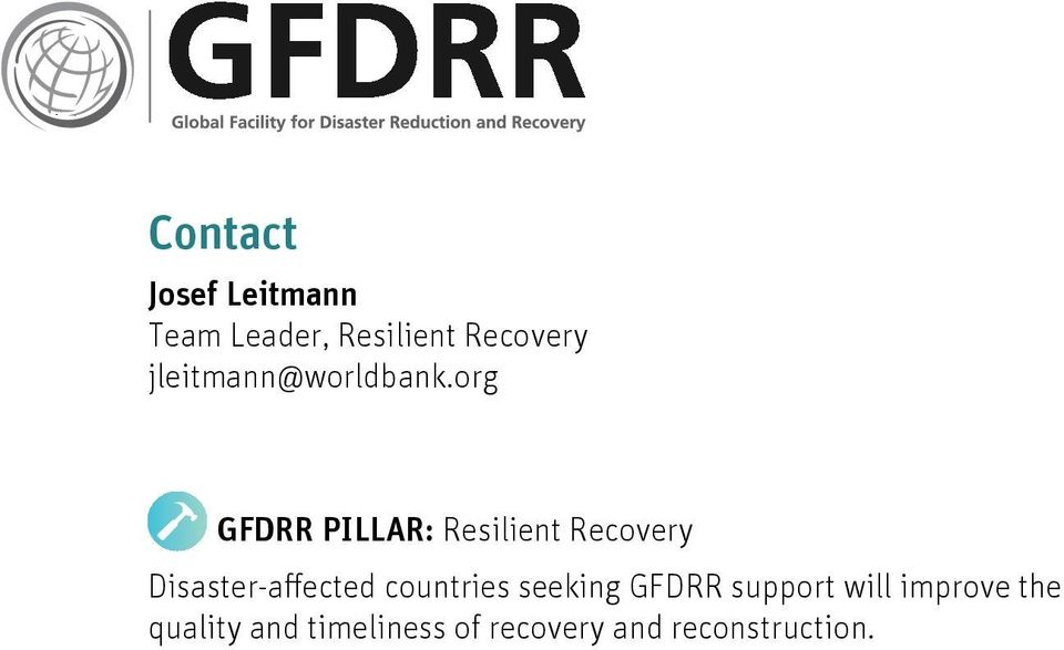 org GFDRR PILLAR: Resilient Recovery Disaster-affected