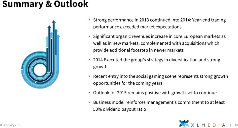 the group s strategy in diversification and strong growth Recent entry into the social gaming scene represents strong growth opportunities for the coming years