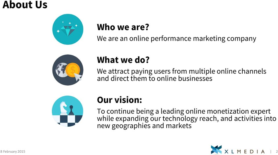 businesses Our vision: To continue being a leading online monetization expert while