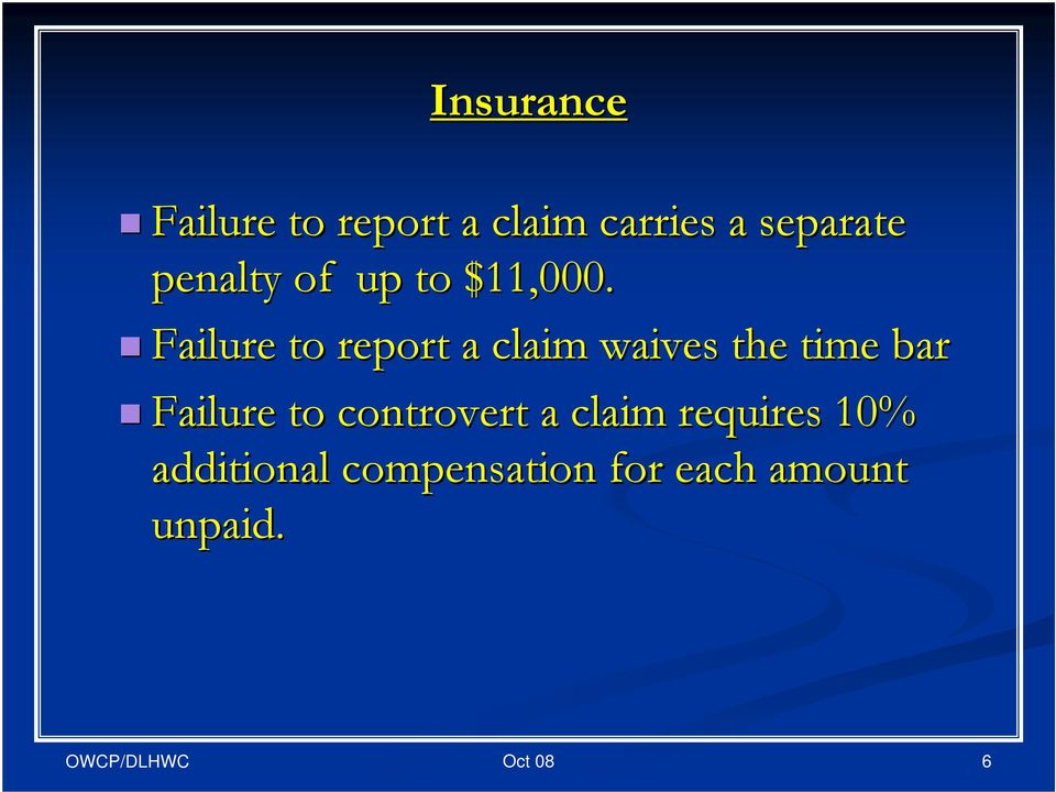 Failure to report a claim waives the time bar Failure
