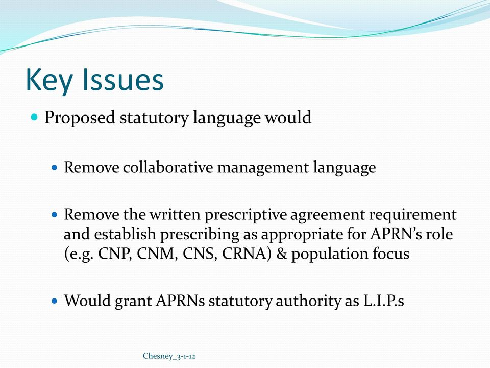 requirement and establish prescribing as appropriate for APRN s role (e.