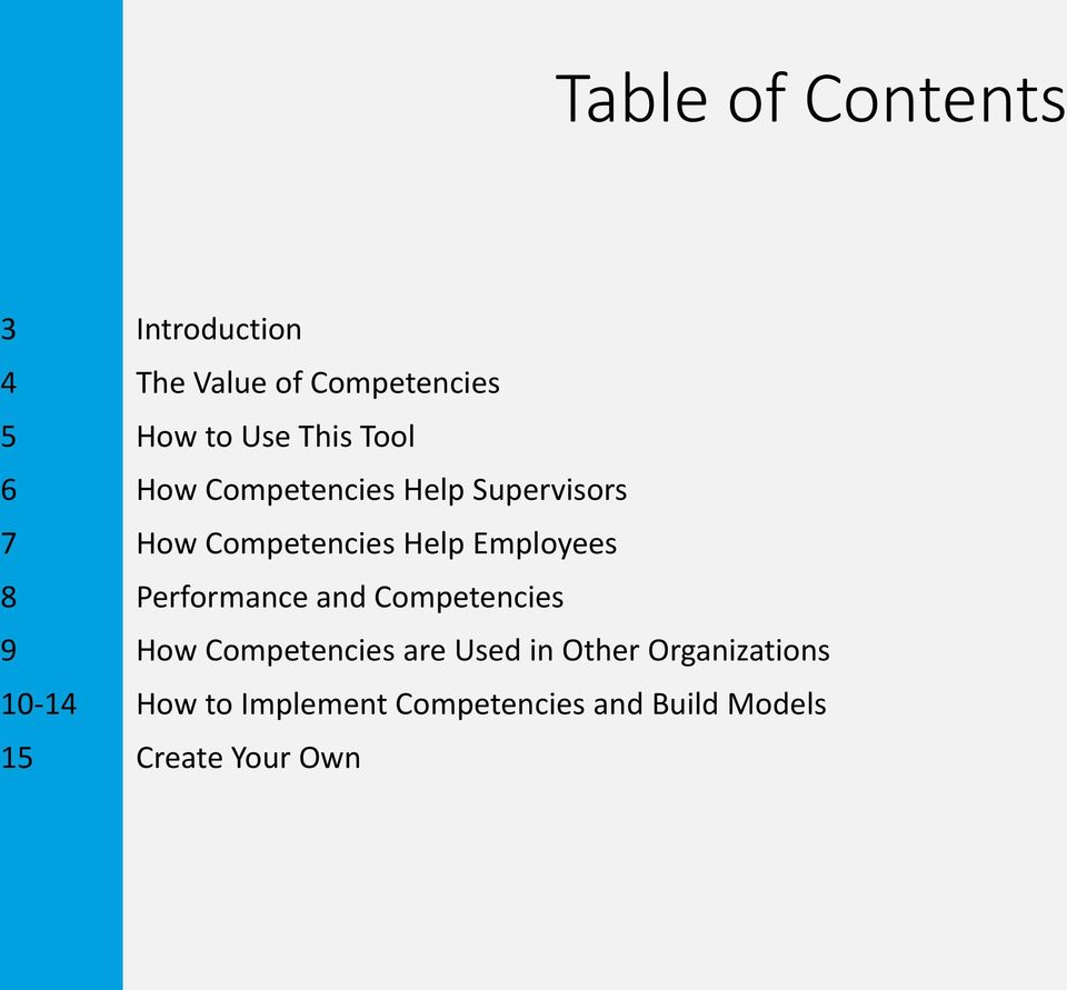 Employees 8 Performance and Competencies 9 How Competencies are Used in