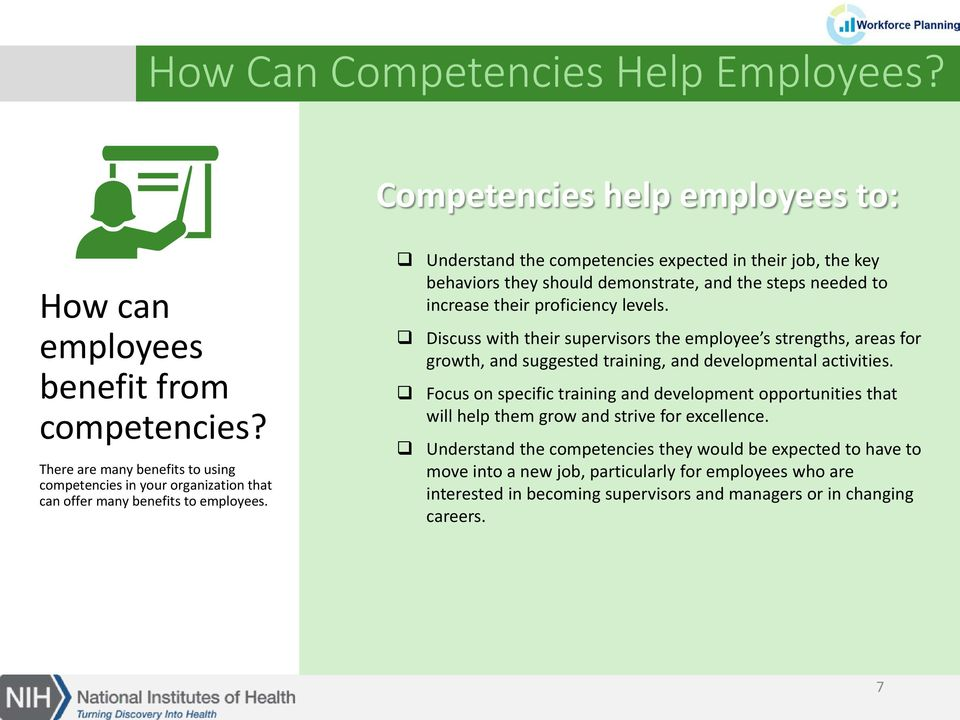Understand the competencies expected in their job, the key behaviors they should demonstrate, and the steps needed to increase their proficiency levels.