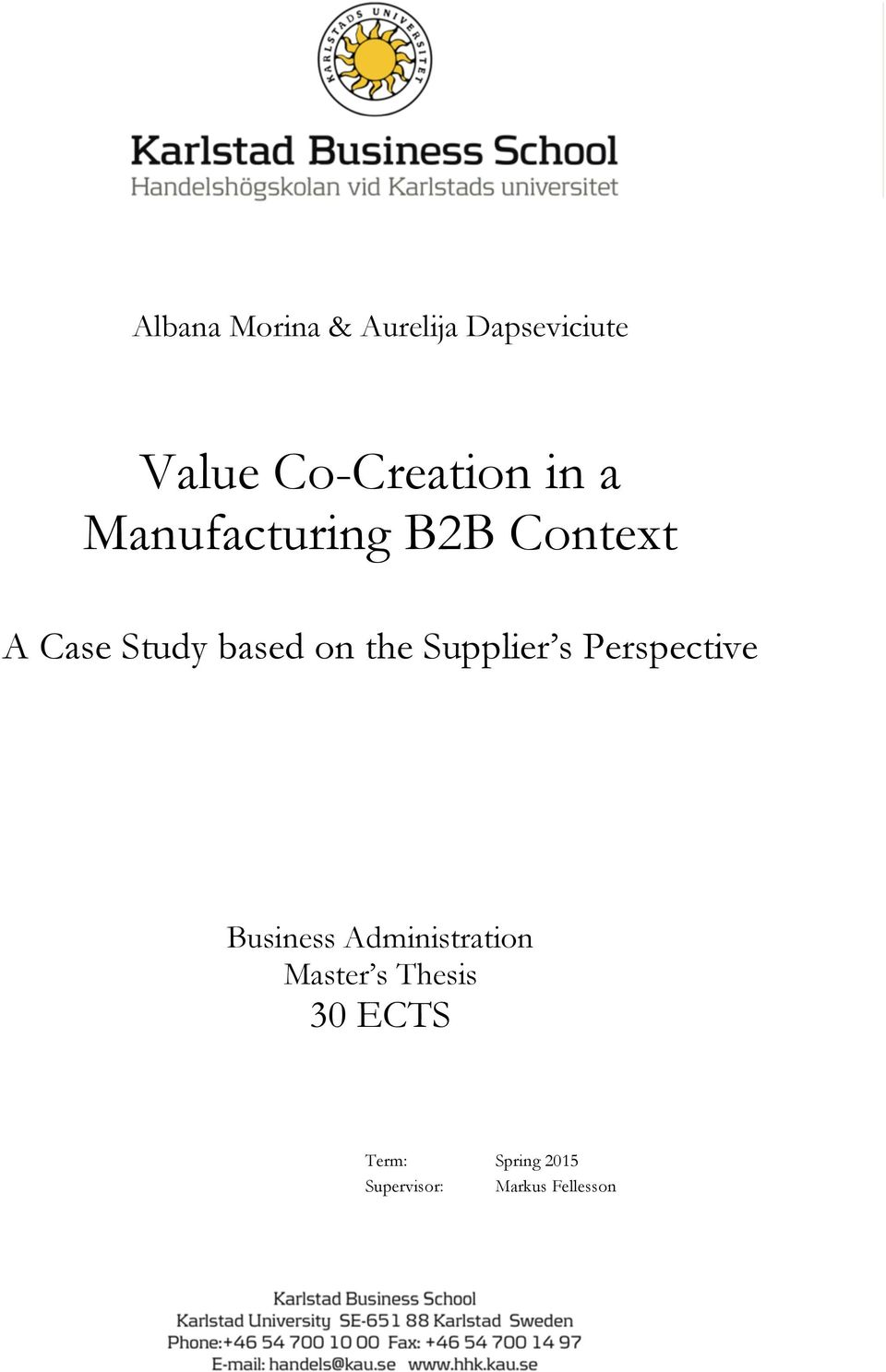 b2b marketing master thesis