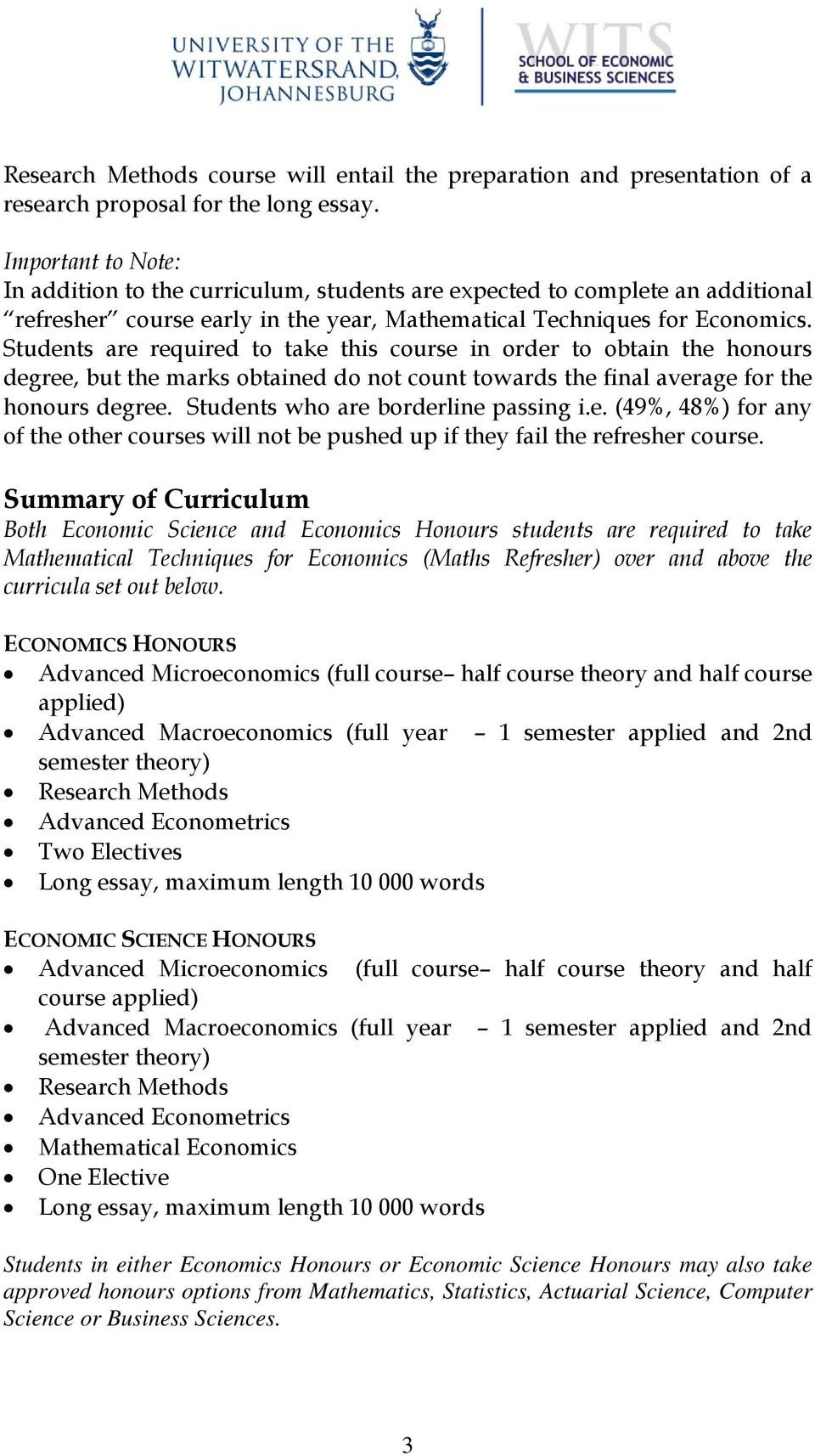 handbook for the honours programme in economics and economic students are required to take this course in order to obtain the honours degree but