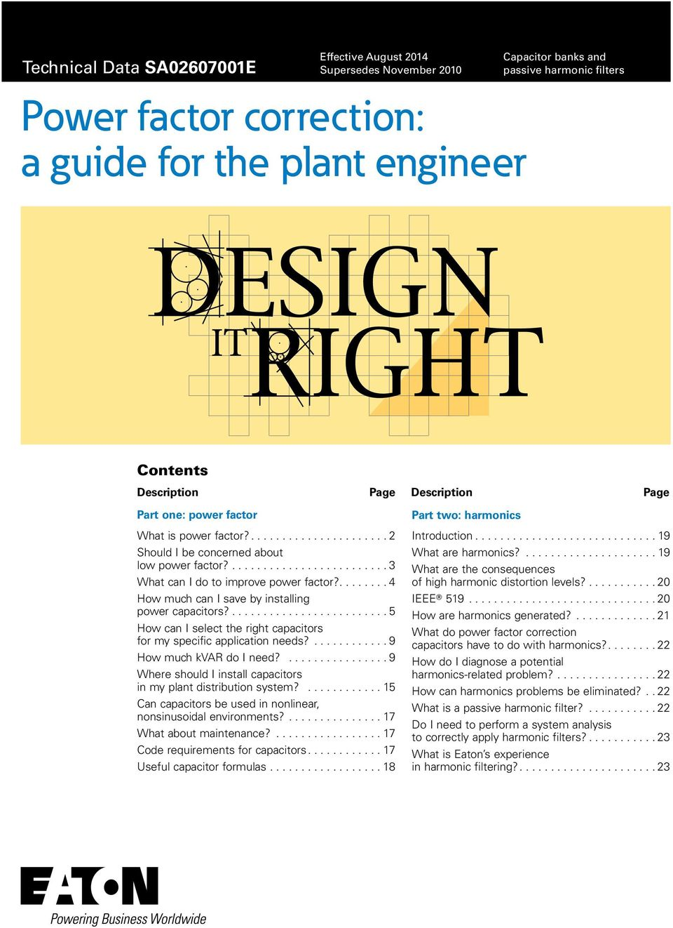 Power Factor Correction A Guide For The Plant Engineer Pdf