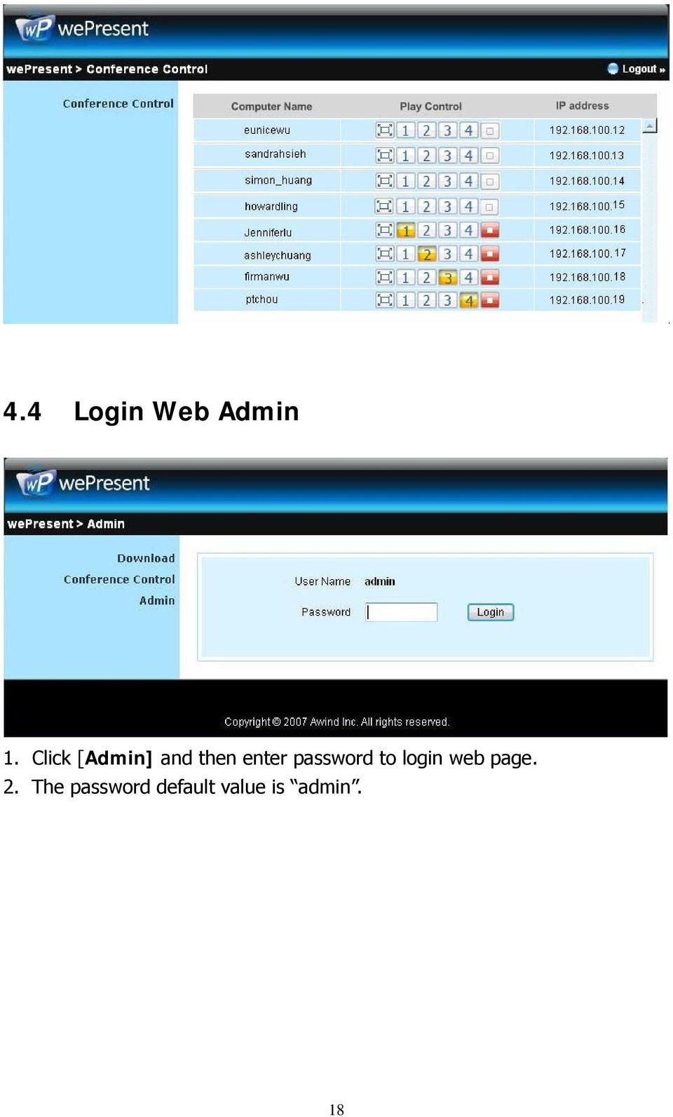 password to login web page. 2.