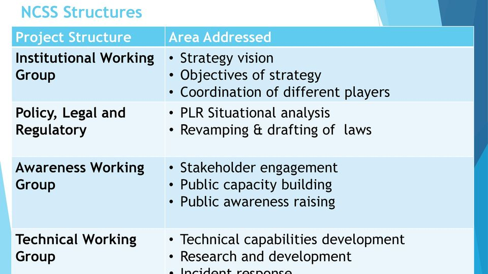 analysis Revamping & drafting of laws Awareness Working Group Stakeholder engagement Public capacity