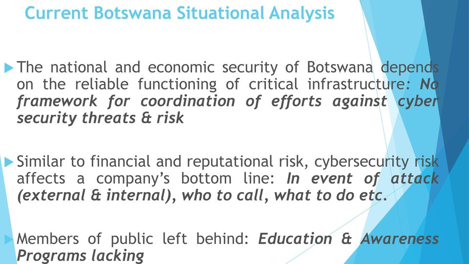 framework for coordination of efforts against cyber security threats & risk Similar to financial and reputational