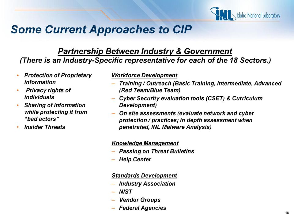 Outreach (Basic Training, Intermediate, Advanced (Red Team/Blue Team) Cyber Security evaluation tools (CSET) & Curriculum Development) On site assessments (evaluate network and cyber