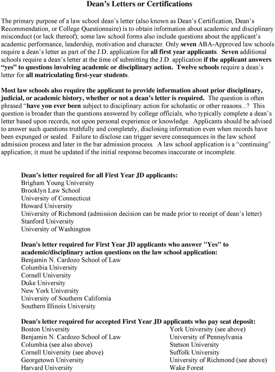 how to apply to law school pdf only seven aba approved law schools require a dean s letter as part of the