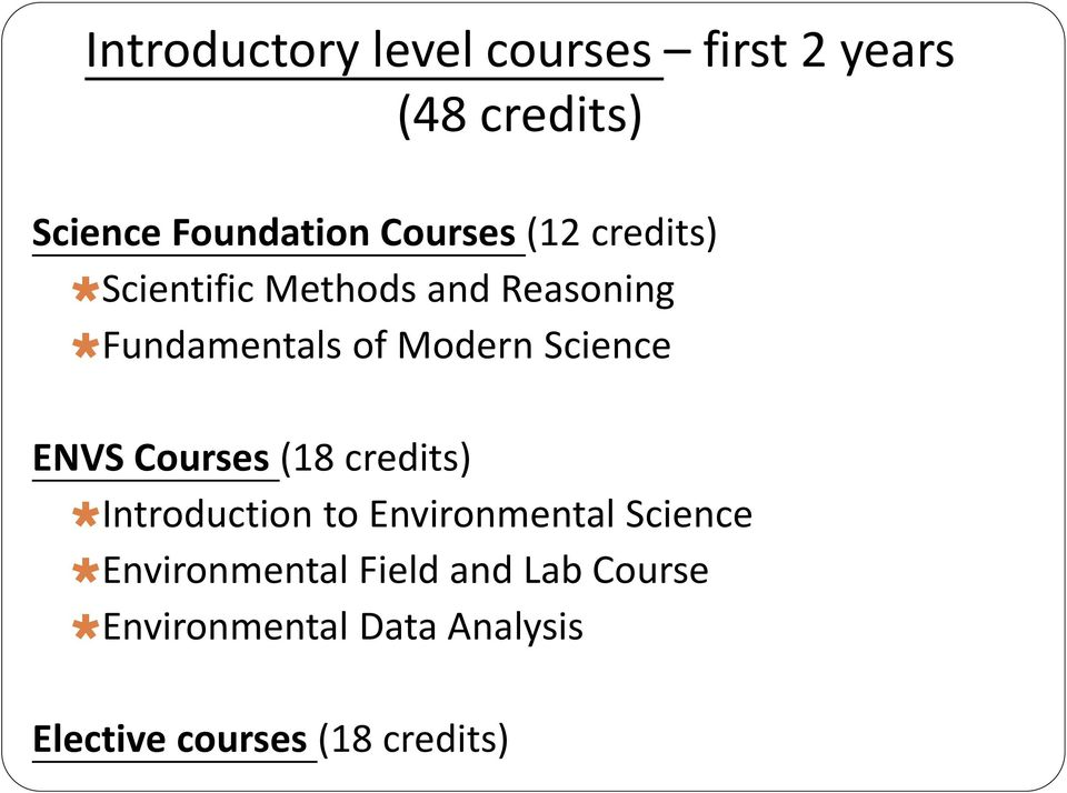 Environmental Science courses credit