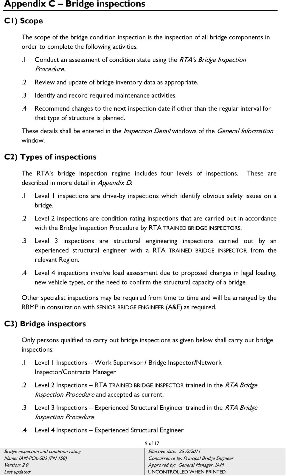 Bridge inventory, inspection and condition rating - Policy ...