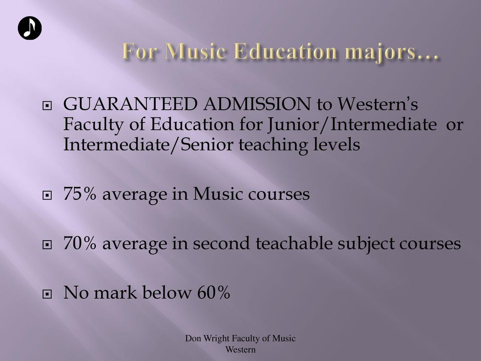 teaching levels 75% average in Music courses 70%