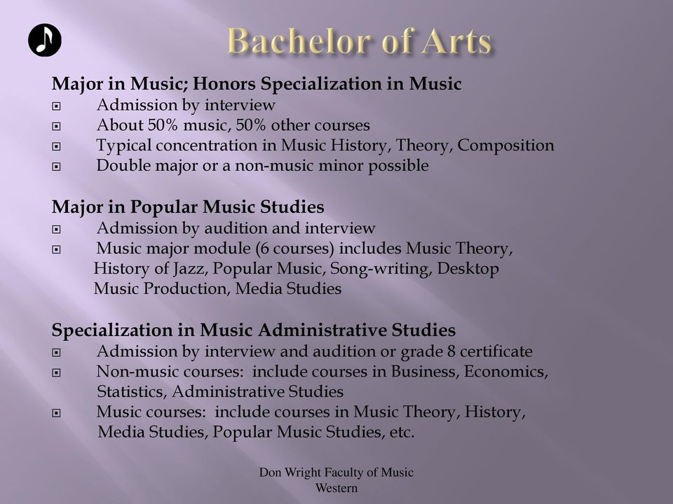 Music, Song-writing, Desktop Music Production, Media Studies Specialization in Music Administrative Studies Admission by interview and audition or grade 8 certificate Non-music