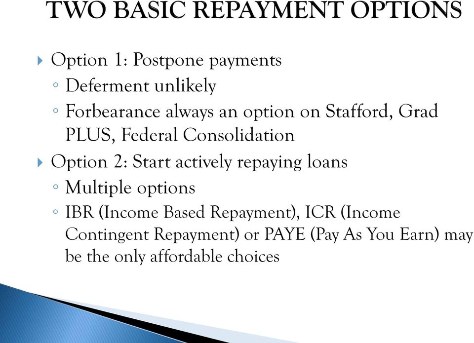 repaying loans Multiple options IBR (Income Based Repayment), ICR (Income