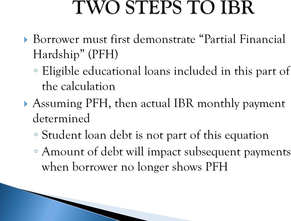 actual IBR monthly payment determined Student loan debt is not part of this