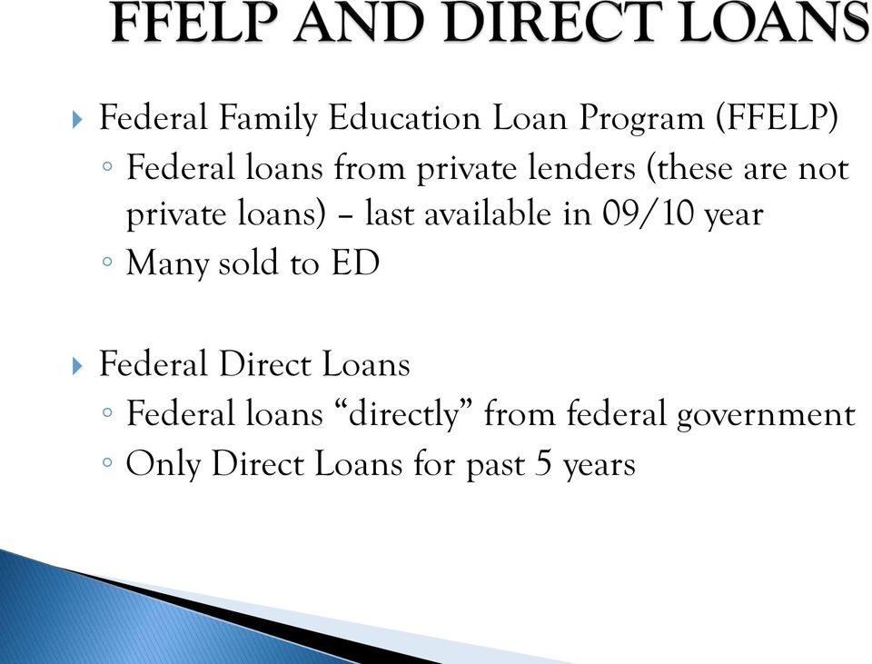 09/10 year Many sold to ED Federal Direct Loans Federal loans