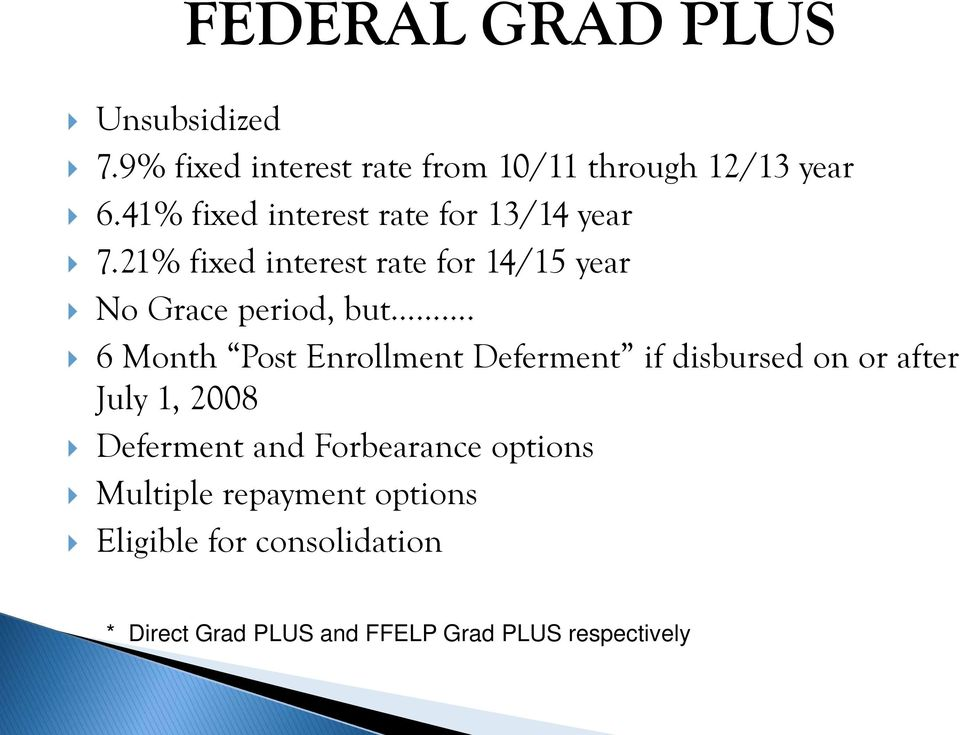 6 Month Post Enrollment Deferment if disbursed on or after July 1, 2008 Deferment and Forbearance