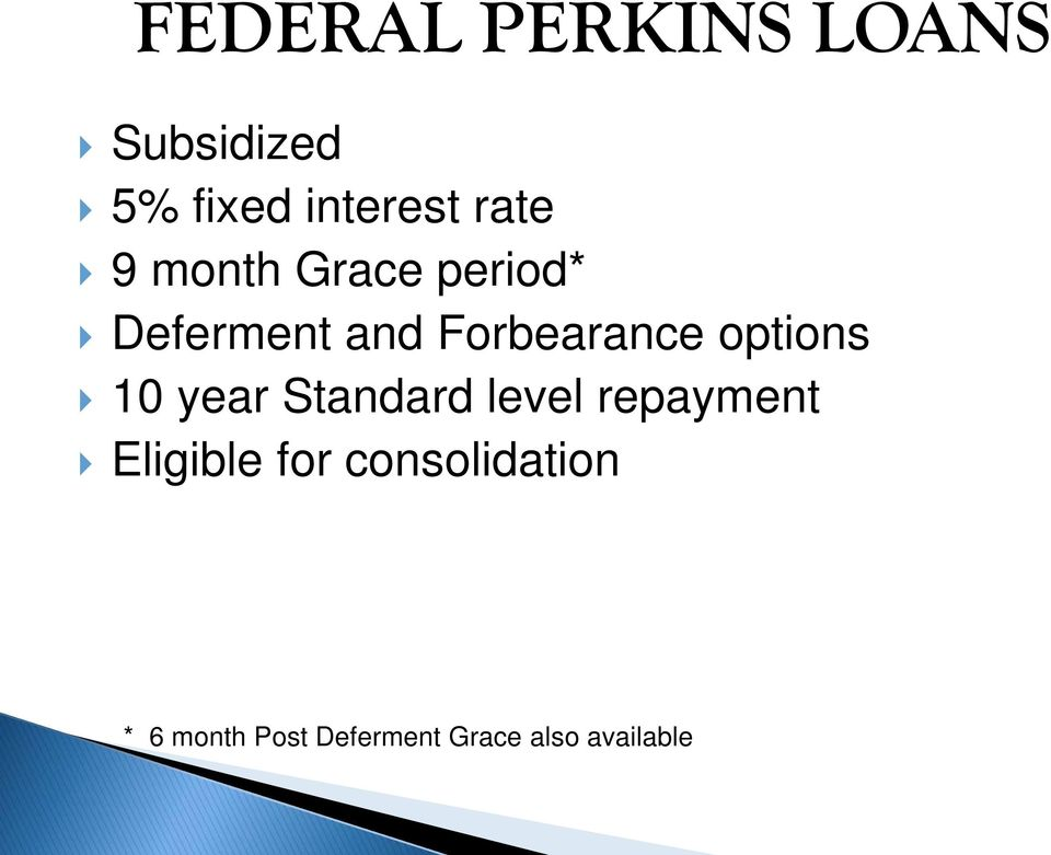 options 10 year Standard level repayment Eligible for