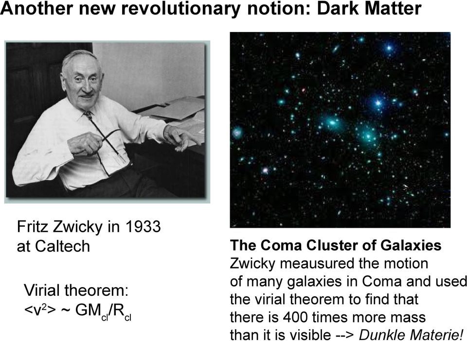 Zwicky meausured the motion of many galaxies in Coma and used the virial