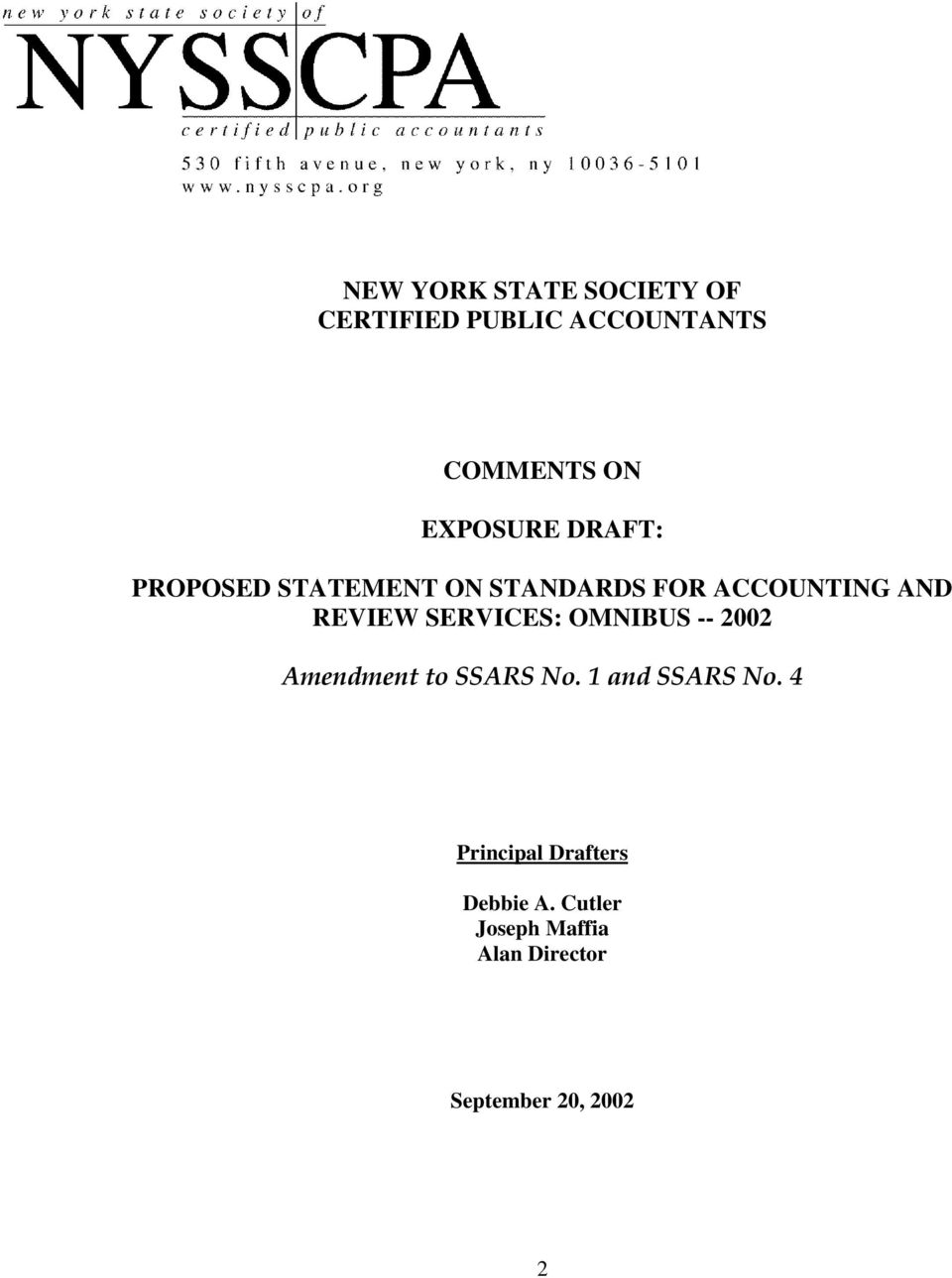 Proposed Statement on Standards for Accounting and Review Services: Omnibus