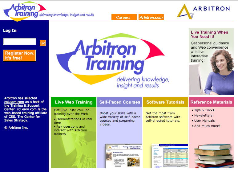 Getting Started on www.arbitrontraining.com Log in Register today if you are not already a registered user of the training Web site. Live Web Training Sign up today for a Live Web class.