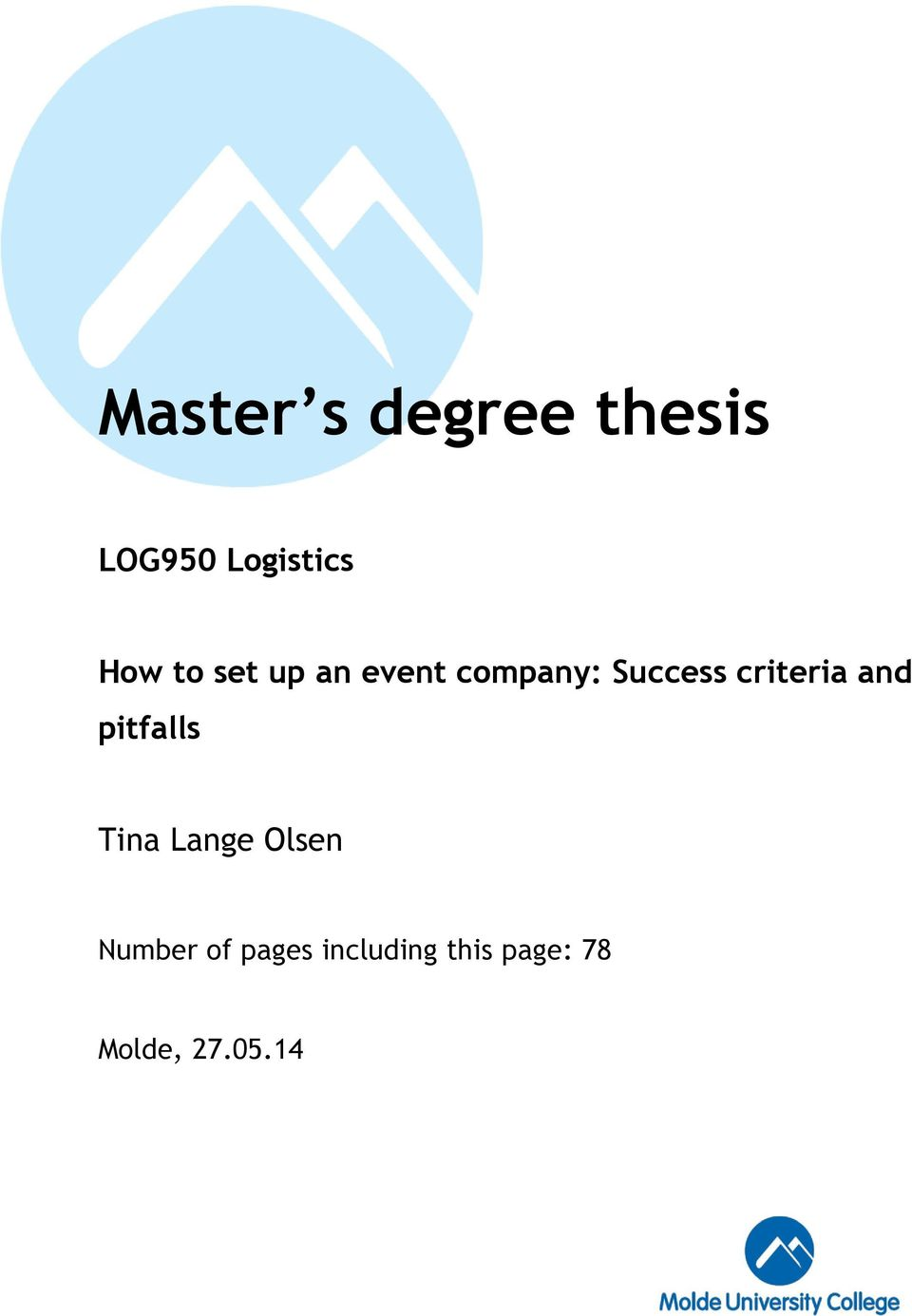 Thesis For The Degree Of Master