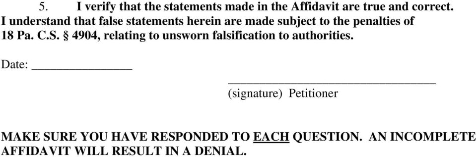 C.S. 4904, relating to unsworn falsification to authorities.