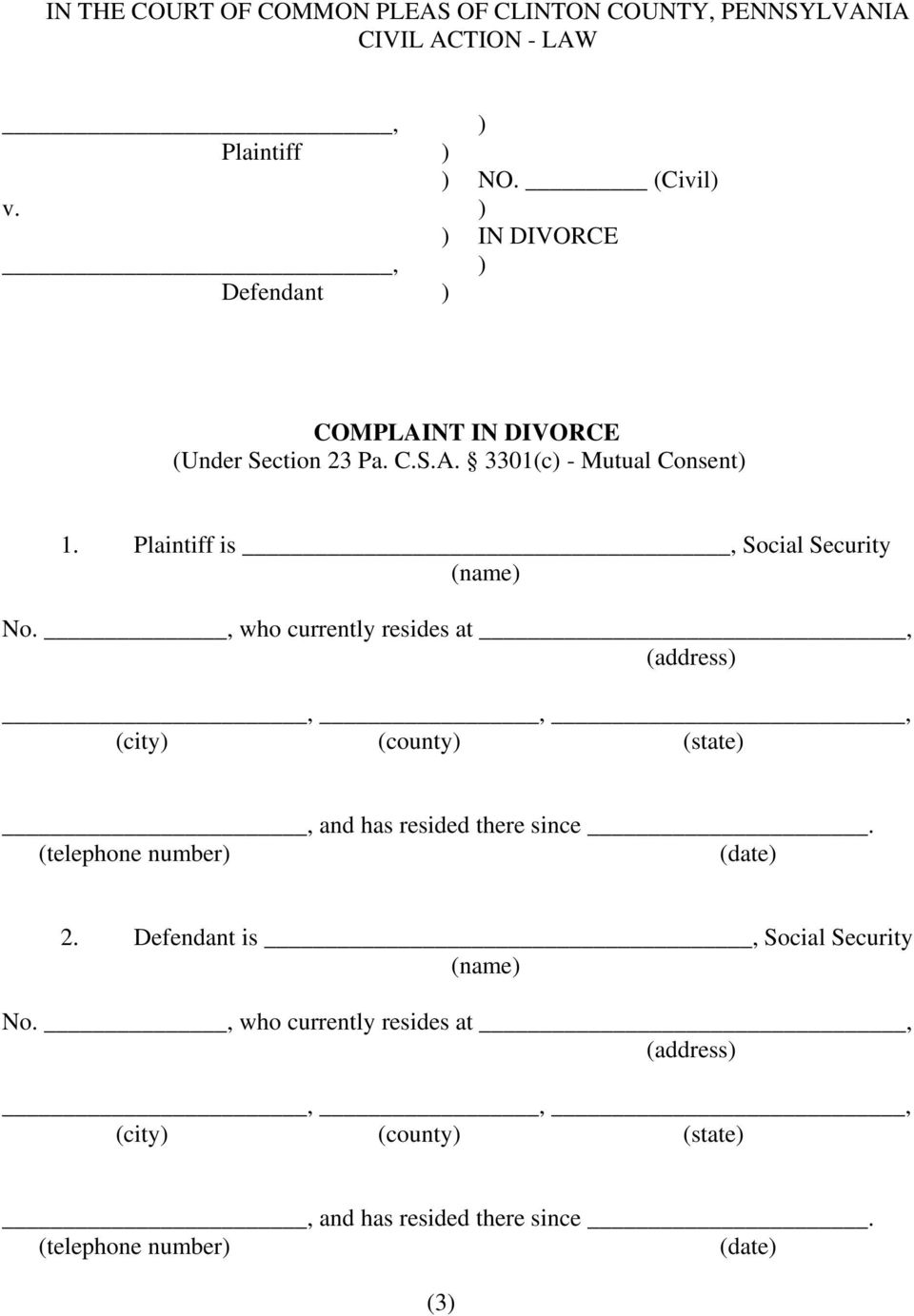 Plaintiff is, Social Security (name) No.