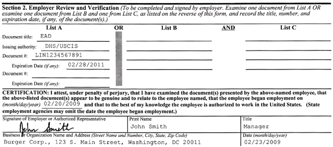 Section 2, Employer Form must be completed