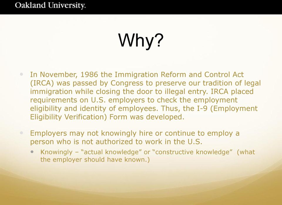 employers to check the employment eligibility and identity of employees.