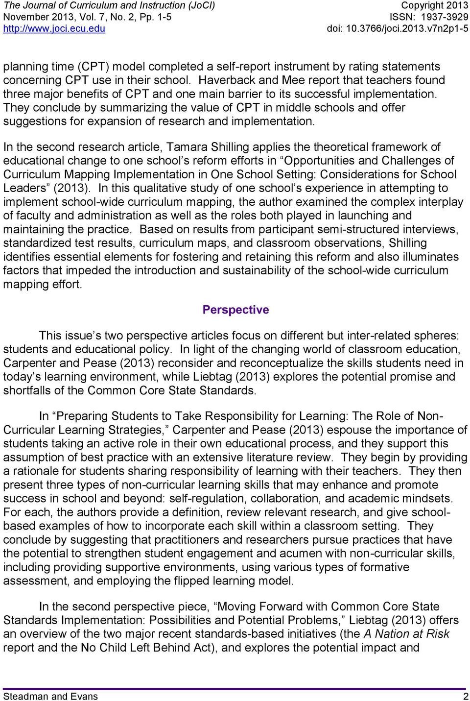 article curriculum and instruction