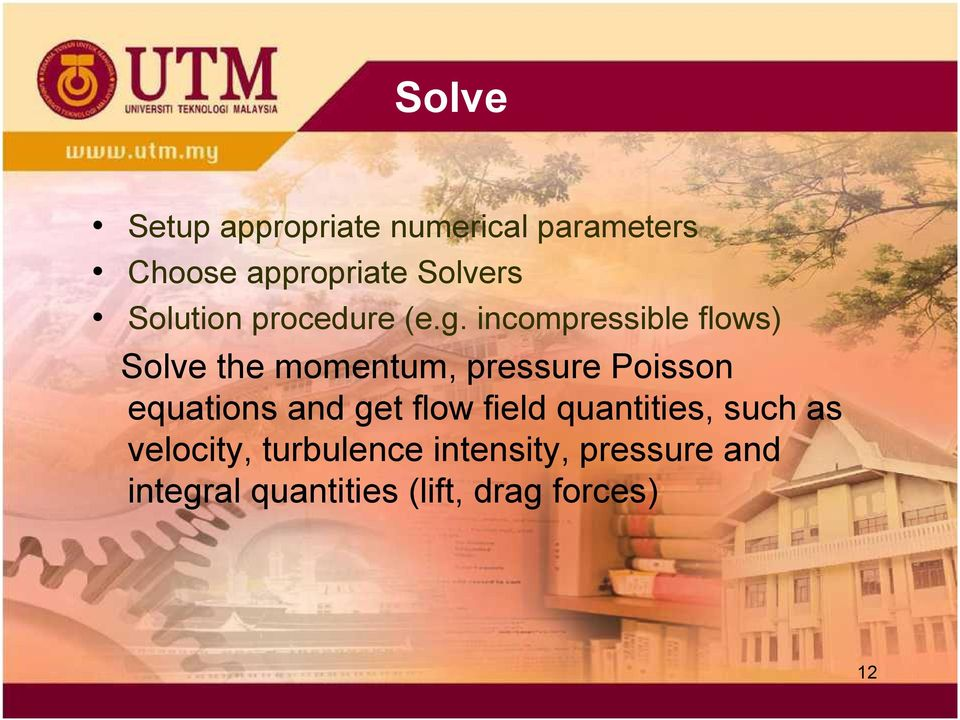 incompressible flows) Solve the momentum, pressure Poisson equations and