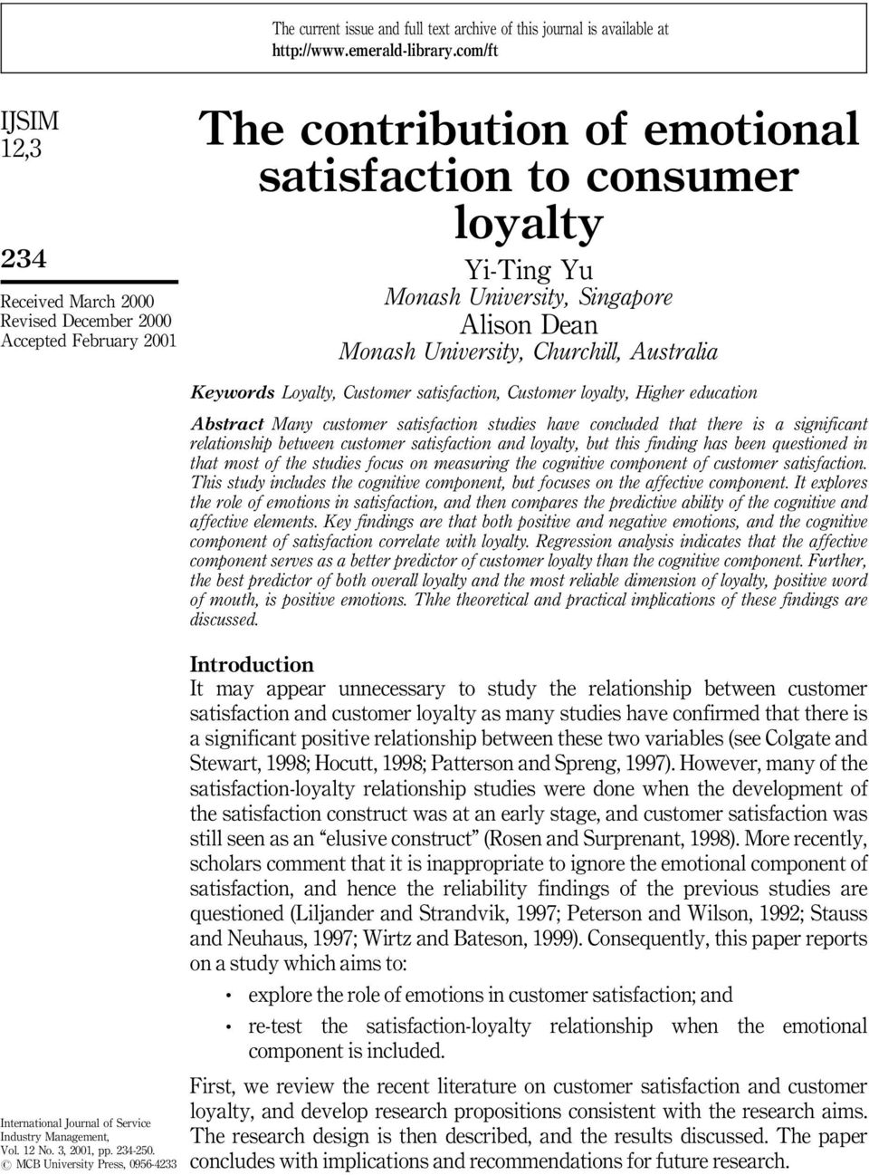 customer satisfaction research papers