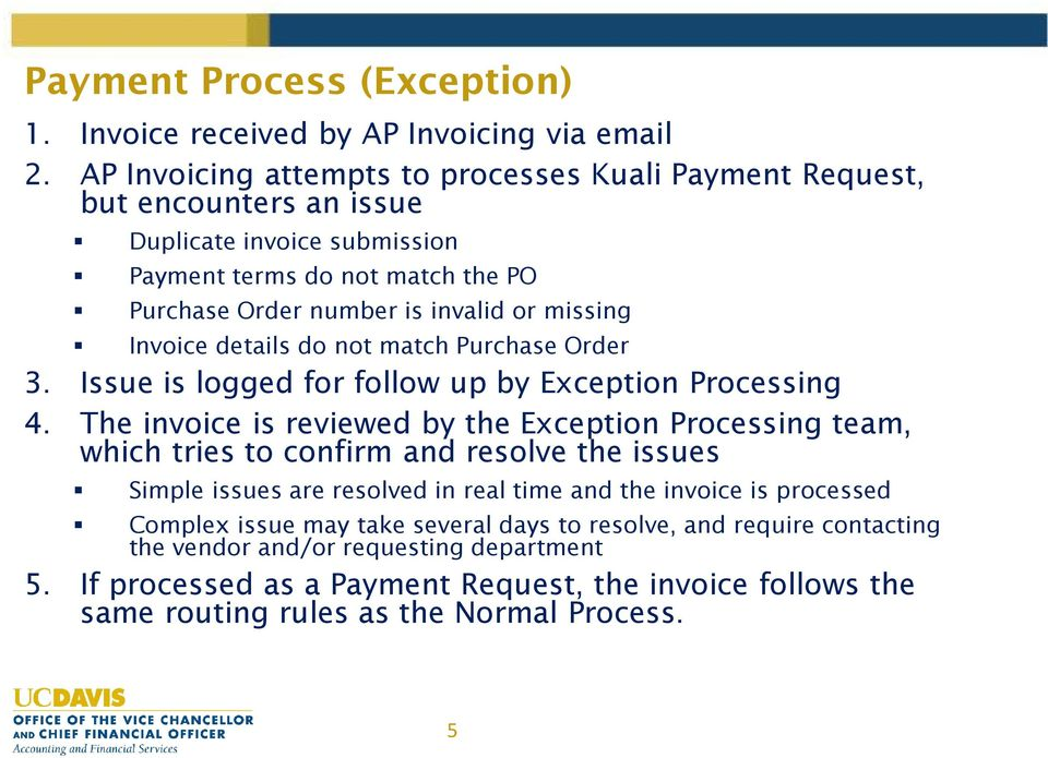 Invoice details do not match Purchase Order 3. Issue is logged for follow up by Exception Processing 4.