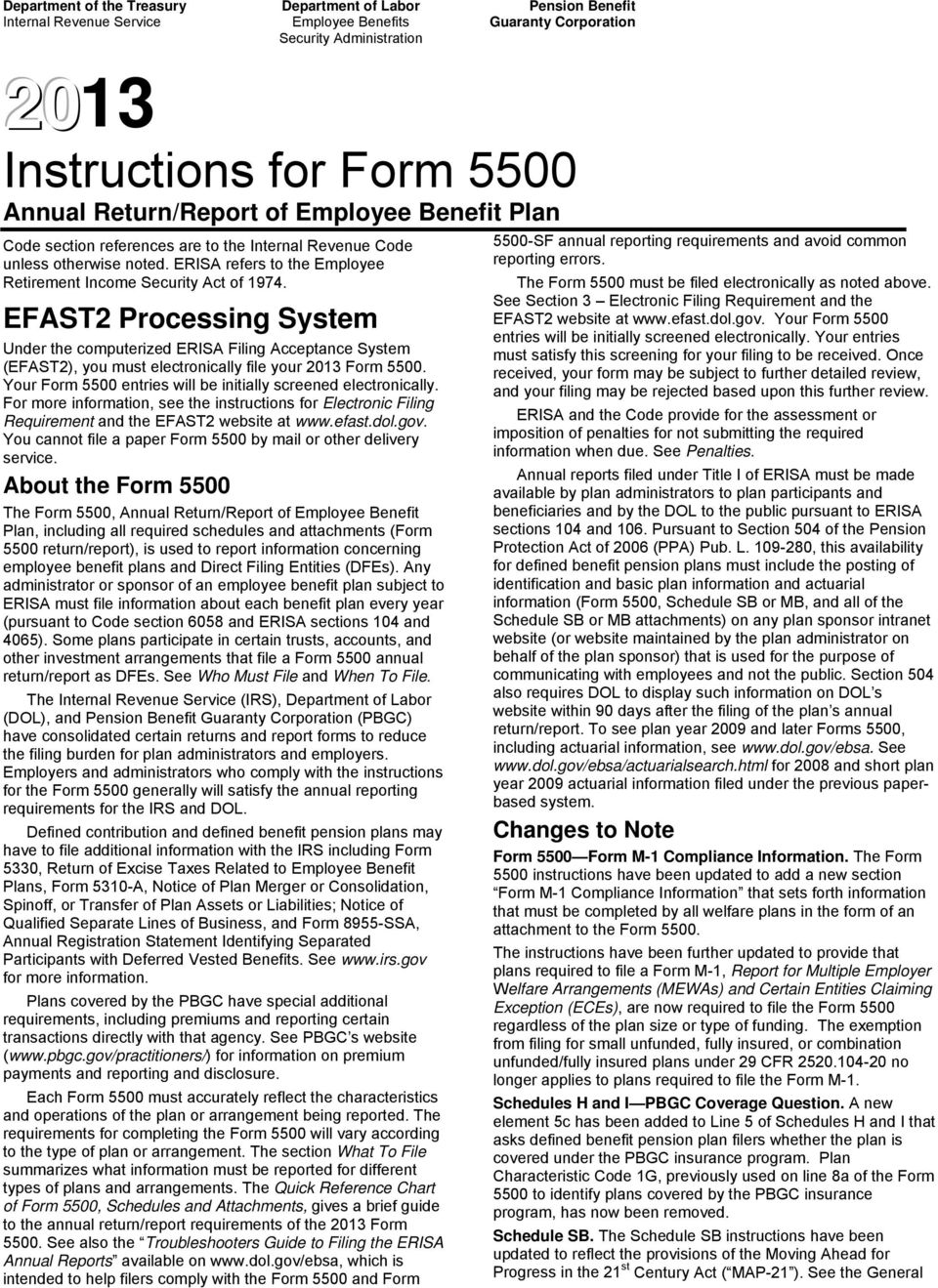Instructions for Form 5500 Annual Return/Report of Employee Benefit Plan - PDF
