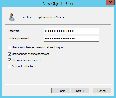 Figure B Configure New User Password The domain account used to synchronize and reset passwords for the domain must have the following permissions to reset a user's account: Change Password, Reset