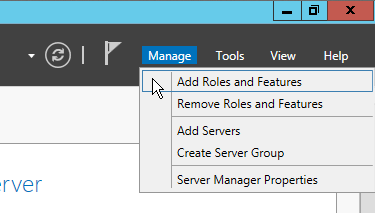 Figure 1.1 Add Roles and Features 2. Click Next until reaching the Installation Type screen. Select Role-based or feature-based installation and click Next. 3.