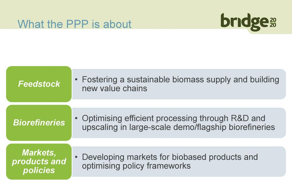 R&D and upscaling in large-scale demo/flagship biorefineries Markets, products