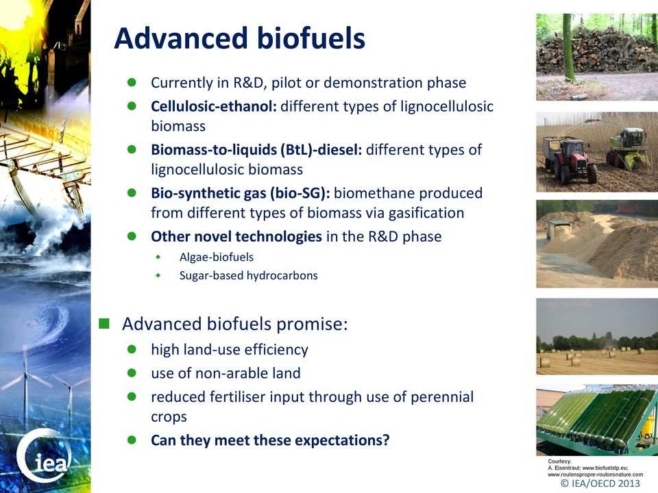 Other novel technologies in the R&D phase Algae-biofuels Sugar-based hydrocarbons Advanced biofuels promise: high land-use efficiency use of non-arable land